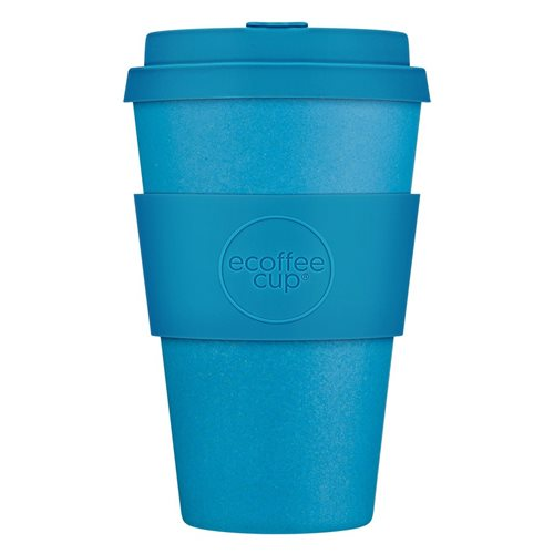 Ecoffee Cup Toroni - Bamboo Cup - 400 ml - with Blue Silicone