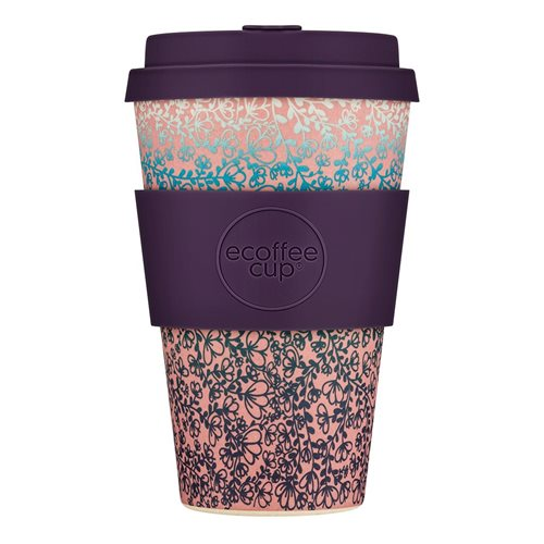 Ecoffee Cup Miscoso Secondo - Bamboe Beker - 400 ml - met Paars Siliconen