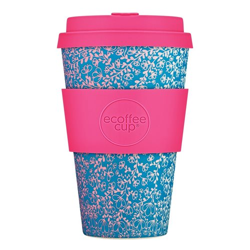 Ecoffee Cup Miscoso Dolce - Bamboe Beker - 400 ml - met Fuchsia Siliconen