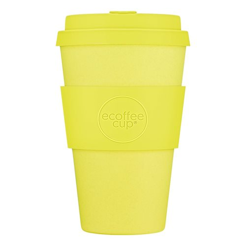 Ecoffee Cup Like a Boss - Bamboo Cup - 400 ml - with Yellow Silicone