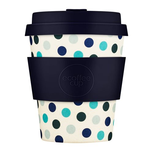 Ecoffee Cup Blue Polka - Bamboo Cup - 250 ml - with Dark Blue Silicone