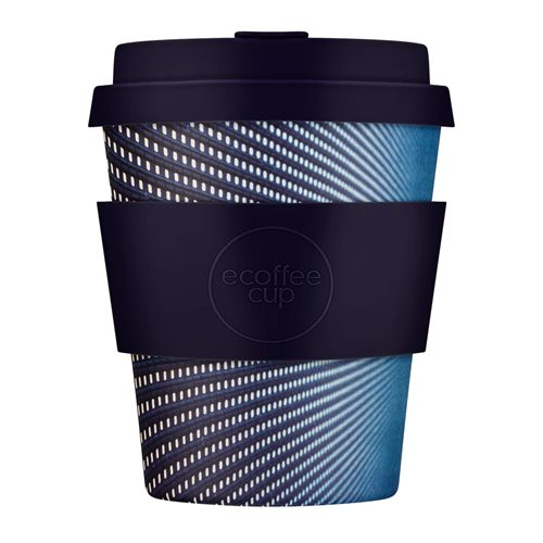 Ecoffee Cup Kubrick - Bamboe Beker - 250 ml - met Donkerblauw Siliconen