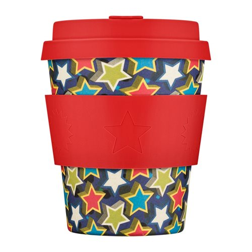 Ecoffee Cup Little Star - Bamboo Cup - 250 ml - BooCup - with Red Silicone