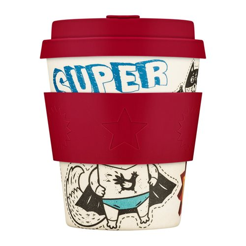 Ecoffee Cup Superhero Fuel - Bamboo Cup - 250 ml - BooCup - with Red Silicone