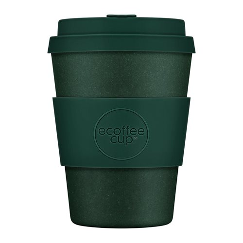 Ecoffee Cup Leave it out Arthur - Bamboe Beker - 350 ml - met Donkergroen Siliconen