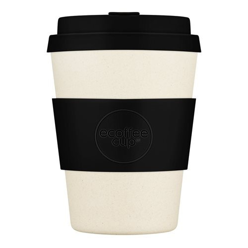 Ecoffee Cup Black Nature - Bamboe Beker - 350 ml - met Zwart Siliconen