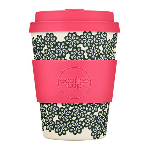 Ecoffee Cup Like, Totally! - Bamboo Cup - 350 ml - with Pink Silicone