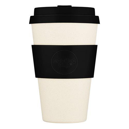 Ecoffee Cup Black Nature - Bamboe Beker - 400 ml - met Zwart Siliconen