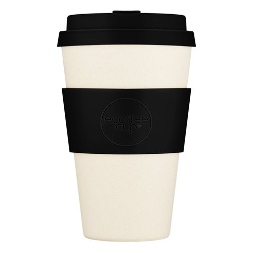 Ecoffee Cup Black Nature - Bamboo Cup - 400 ml - with Black Silicone