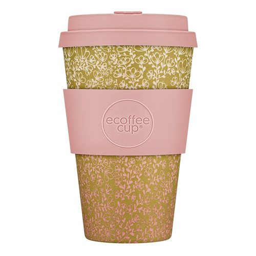 Ecoffee Cup Miscoso Primo - Bamboe Beker - 400 ml - met Lichtroze Siliconen