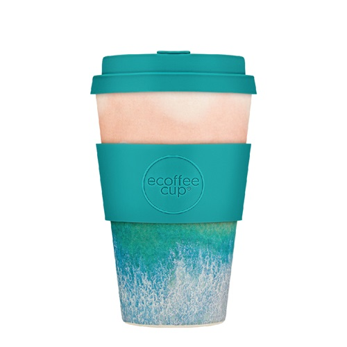 Ecoffee Cup Porthcurno - Bamboo Cup - 400 ml - Surfers Against Sewage - with Turquoise Silicone
