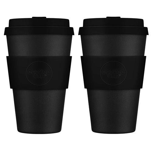 Ecoffee Cup Kerr & Napier - Bambus Becher to Go - 400 ml - mit Silikon Schwarz - 2er Set