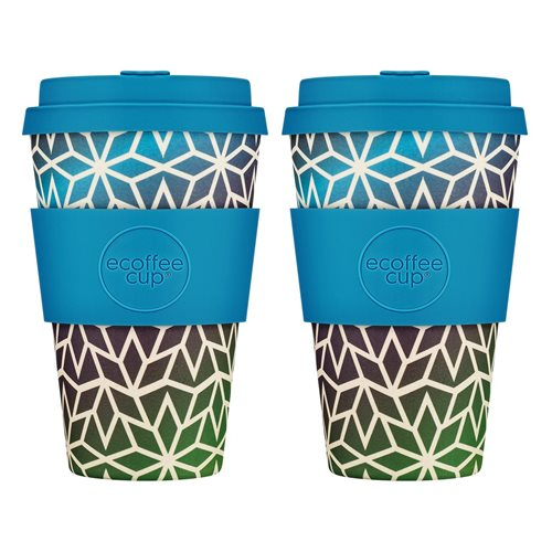 Ecoffee Cup Stargate - Bamboo Cup - 400 ml - with Blue Silicone - Set of 2