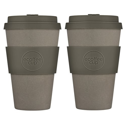 Ecoffee Cup Molto Grigio - Bamboe Beker - 400 ml - met Grijs Siliconen - Set van 2