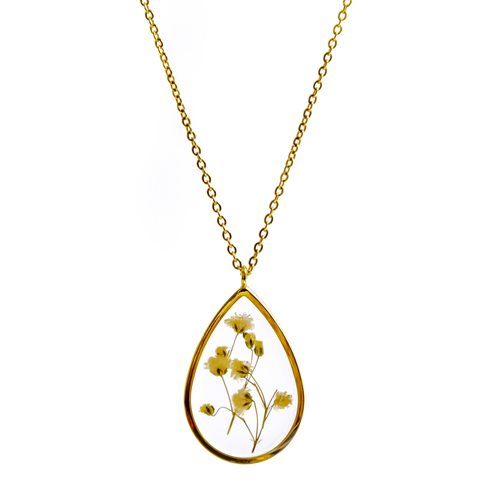 Growing Concepts Gold plated Necklace with real flower - Gypsophila - 45-50 cm
