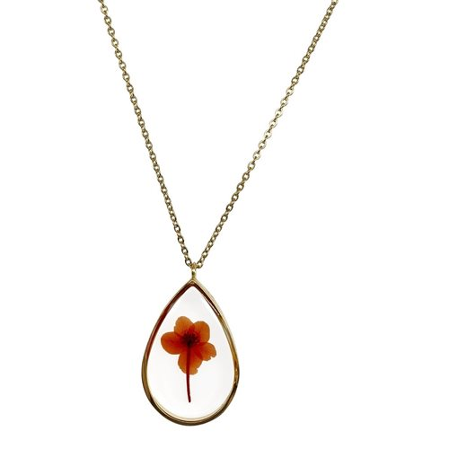 Growing Concepts Vergoldete Halskette mit echter Blume - Veilchen - 45-50 cm