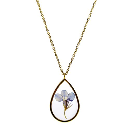 Growing Concepts Gold plated Necklace with real flower - Lobelia - 45-50 cm