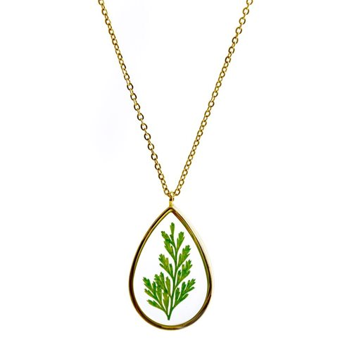 Growing Concepts Gold plated Necklace with real flower - Fern - 45-50 cm