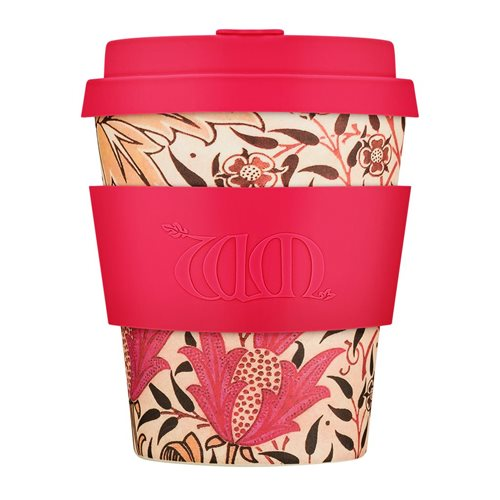 Ecoffee Cup Earthly Paradise - Bambus Becher to Go - 250 ml - William Morris - mit Silikon Rot