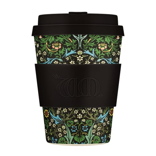 Ecoffee Cup Blackthorn - Bamboe Beker - 350 ml - William Morris - met Donkerbruin Siliconen