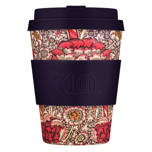 Ecoffee Cup Wandle - Bamboe Beker - 350 ml - William Morris - met Donkerblauw Siliconen