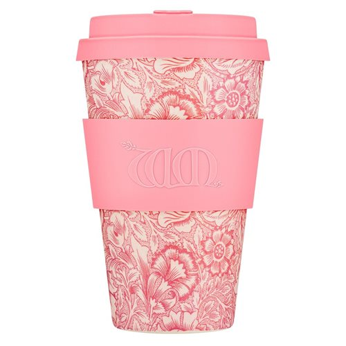 Ecoffee Cup Poppy - Bamboo Cup - 400 ml - William Morris - with Pink Silicone