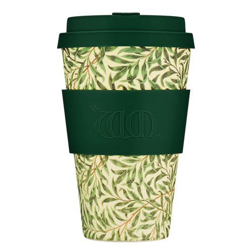 Ecoffee Cup Willow - Bamboo Cup - 400 ml - William Morris - with Dark Green Silicone