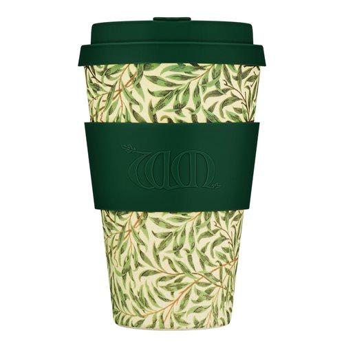 Ecoffee Cup Willow - Bambus Becher to Go - 400 ml - William Morris - mit Silikon Dunkel Grün