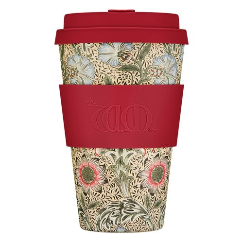 Ecoffee Cup Corncockle - Bamboo Cup - 400 ml - William Morris - with Red Silicone