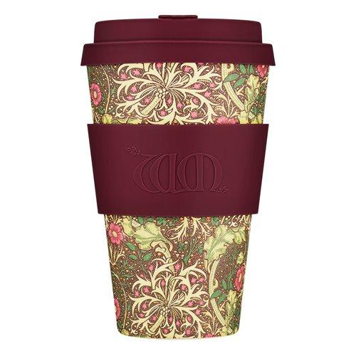 Ecoffee Cup Seaweed - Bamboe Beker - 400 ml - William Morris - met Paars Siliconen