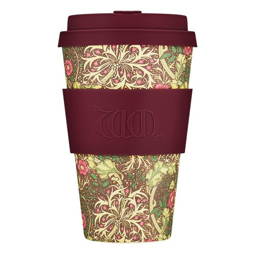 Ecoffee Cup Seaweed - Bamboo Cup - 400 ml - William Morris - with Purple Silicone