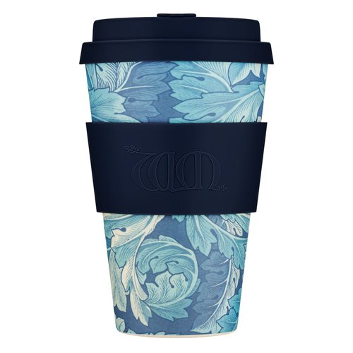 Ecoffee Cup Acanthus - Bamboo Cup - 400 ml - William Morris - with Dark Blue Silicone