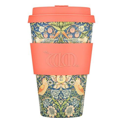 Ecoffee Cup Thief - Bamboe Beker - 400 ml - William Morris - met Oranje Siliconen
