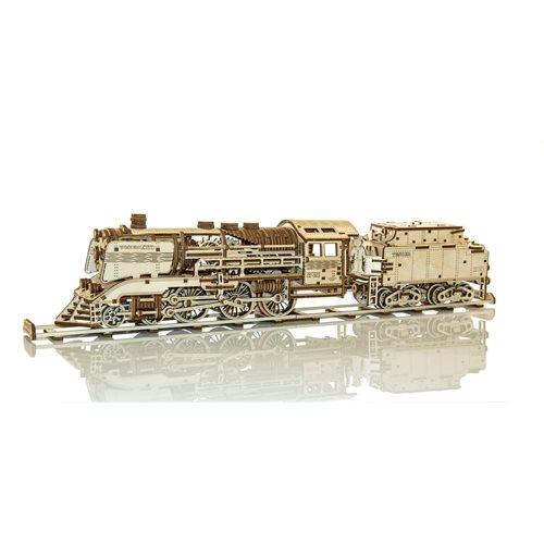Wooden City Houten Trein met Tender en Rails - Houten Modelbouw