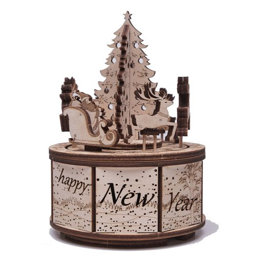 Wood Trick Wooden Model Kit - Santa's Carousel - Music Box