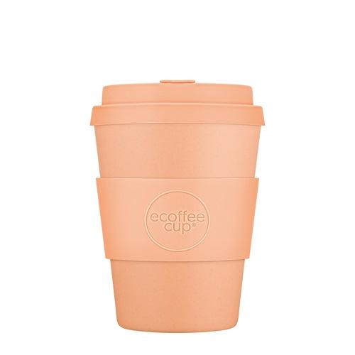 Ecoffee Cup Catalina Happy Hour - Bamboe Beker - 350 ml - met Pastel Oranje Siliconen