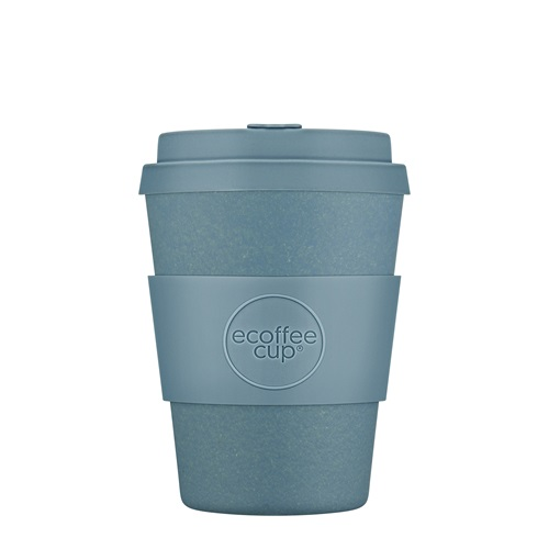 Ecoffee Cup Gray Goo - Bamboo Cup - 350 ml - with Pastel Blue Silicone
