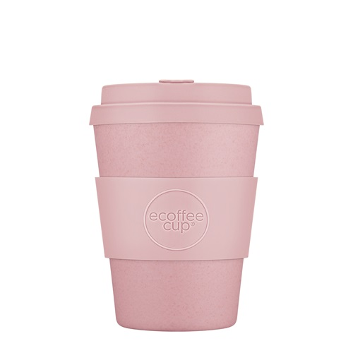 Ecoffee Cup Local Fluff - Bamboe Beker - 350 ml - met Pastel Roze Siliconen