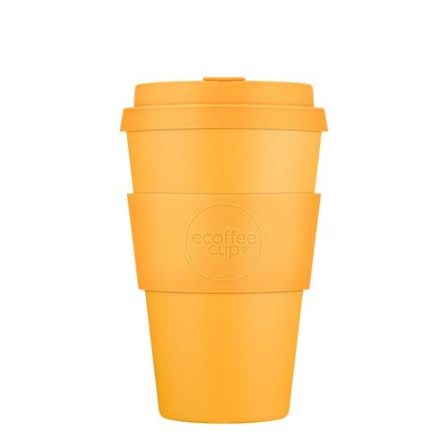 Ecoffee Cup Bananafarma - Bamboe Beker - 400 ml - met Pastel Oranje Siliconen