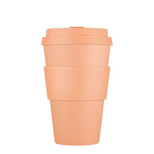 Ecoffee Cup Catalina Happy Hour - Bamboe Beker - 400 ml - met Pastel Oranje Siliconen