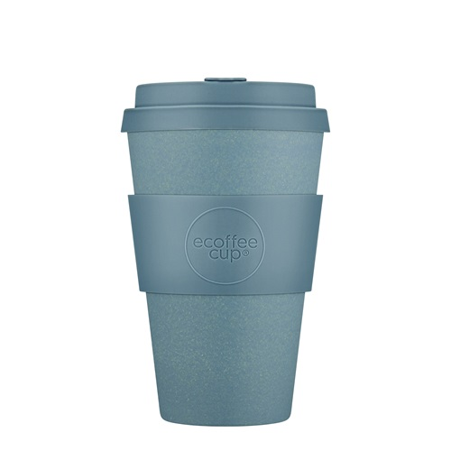 Ecoffee Cup Gray Goo - Bamboo Cup - 400 ml - with Pastel Blue Silicone