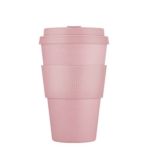 Ecoffee Cup Local Fluff - Bamboo Cup - 400 ml - with Pastel Pink Silicone