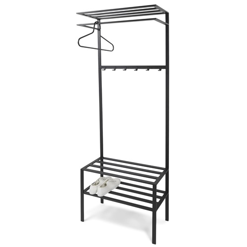 Spinder Design Ivar 2 Garderobe mit 6 Haken 70x29x178 - Schwarz