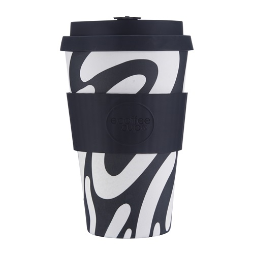 Ecoffee Cup Manasa's Run - Bamboo Cup - 400 ml - with Black Silicone