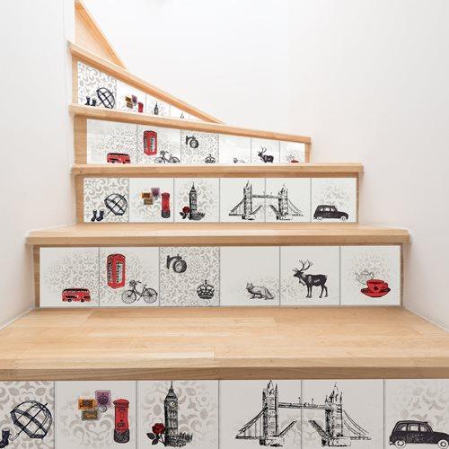 Walplus London Tile Sticker - Black/White/Red - 15x15 cm - 24 pieces