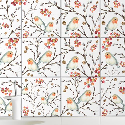 Walplus Ode To The Robin Redbreast Tile Sticker - Black/White/Red - 15x15 cm - 24 pieces