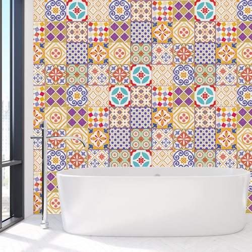 Walplus Colourful Moroccan Tile Sticker - Multicolour - 15x15 cm - 24 pieces