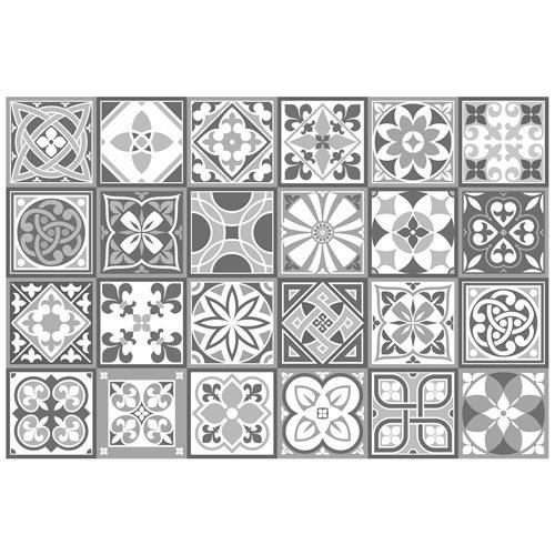 Walplus Purbeck Tegelsticker - Grijs/Wit - 15x15 cm - 24 stuks