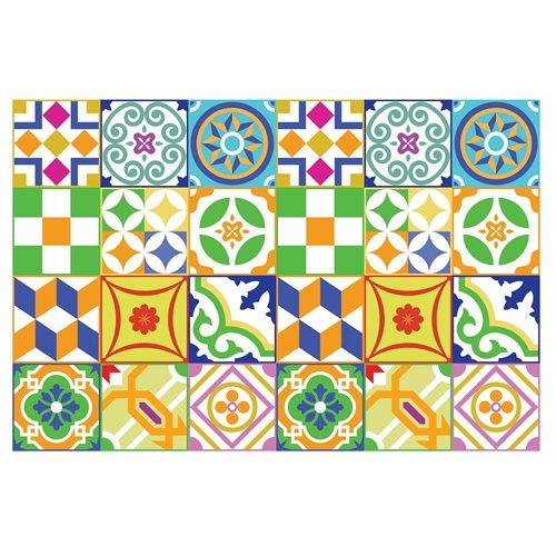 Walplus Classic Spanish Colourful Tile Sticker 2 - Multicolour - 15x15 cm - 24 pieces