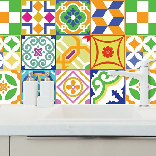 Walplus Classic Spanish Colourful Tile Sticker 2 - Multicolour - 15x15 cm - 24 pieces